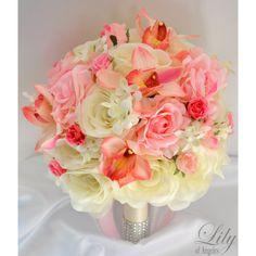 Artificial Silk Flower Wedding Bridal Bouquets Ivory/Pink Model: IVPI04