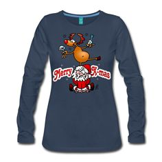 #Christmas #Longsleeve #Santa #SantaClaus #Reindeer Merry X-mas from Santa Claus and his reindeer women's premium longsleeve shirt. Now available in the newly opened Christmas Sweater, T-shirt and Goodies shop for he UK. #Spreadshirt #Cardvibes #Tekenaartje