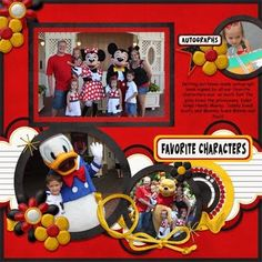 Love all the pages on this blog.  Great ideas for a Disney Scrapbook for use of color and page layout.