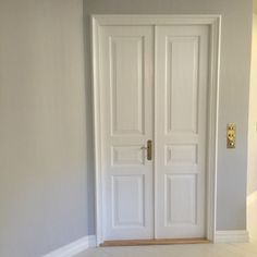 Our Double doors, walls in #farrowandball cornforth white    And check the brass fittings! Brass light switches from #forbesandlomax
