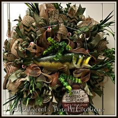 Fishing Wreath by Twentycoats Wreath Creations Camo Wreath, Hunting Wreath, Easter Wreaths, Mesh Wreaths, Christmas Wreaths, Creative Gift Packaging, Funeral Caskets, Casket Flowers, Cemetery Decorations