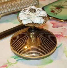 Beautiful, Vintage Irice, I Rice, White Floral and Gold, Bulbless Atomizer, Perfume Bottle