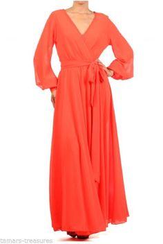 S * SHEER Orange FULL SWEEP Chiffon MAXI DRESS Gown Long Wrap PARTY CRUISE vtg #tamarstreasures #Maxi #Formal