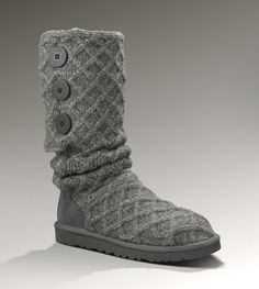 The womens UGG® Lattice Cardy is made of a heathered Merino wool blend made to look like your favorite chunky, knit sweater. Three wooden buttons etched with signature UGG® branding make this boot one of our most versatile styles. Slouch the boot down, cuff it over or wear it up. All boots in our Classic Collection feature a soft foam insole covered with genuine sheepskin and have a light and flexible, outsole molded EVA designed for amazing comfort with every step.