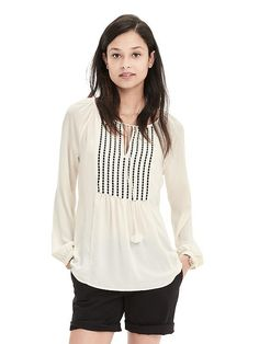 Embroidered Tassel Blouse | Banana Republic