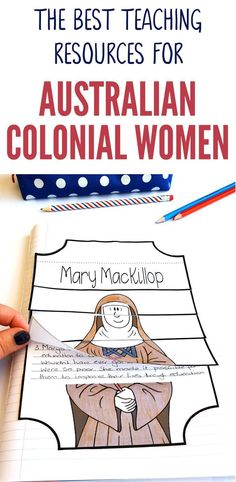 Check out our great range of Australian colonial women teaching resources designed especially for Australian Upper Primary Teachers. Our Australian Colonial Women range of teaching resources feature Caroline Chisholm, Mary MacKillop, Georgiana McCrae and Primary Teaching, Teaching Resources, Primary School, Primary Resources, Elementary Teaching, Teaching Activities, Elementary Schools, Curriculum Planning, Homeschool Curriculum