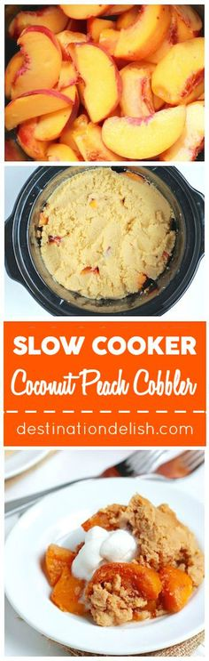 Slow Cooker Coconut Peach Cobbler - a gluten free, paleo, and vegan version of the classic peach cobbler dessert made with coconut flour and cooked in the crock pot