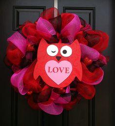Owl Always Love You Valentines Wreath  Mesh by CreationsbySaraJane