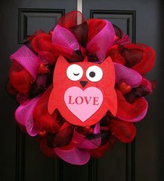 Owl Always Love You Valentines Wreath  Mesh by CreationsbySaraJane