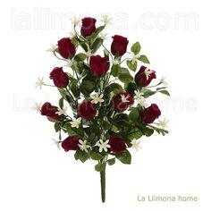Ramo artificial flores rosas jazmín rojas 51