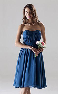 Chiffon A-line Sweetheart Knee-length Bridesmaid Dress