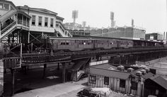 IRT 9th Avenue Line:  Motor #3041 on 3-car shuttle between 155th St . and Burnside Ave. at Polo Ground station, 155th St. and 8th Ave. NY, NY 6/28/40  (View looking NW.  Polo Grounds stadium in background.  N. Y. Giants sign visible at rear.)  George E. Votava Photo, Dave Keller Archive
