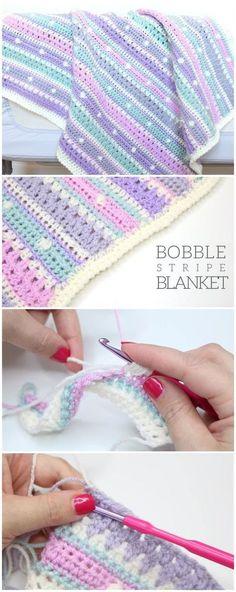 Free Crochet Pattern – Bobble Stripe Blanket