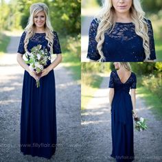 2016 Country Style Navy Blue Bridesmaid Dresses Sheer Crew Neck Lace Top Short Sleeves Chiffon Backless Long Maid Of The Honor Dresses Bridesmaids Dresses Ireland Bronze Bridesmaid Dresses From Allanhu, $85.25| Dhgate.Com