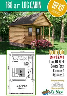 Highly affordable small and tiny log cabin kits that you can assemble yourself in days! Many choices from a number of manufacturers. Tiny Log Cabins, Small Log Cabin, Log Cabin Kits, Tiny House Cabin, Cabin Plans, Awesome Woodworking Ideas, Woodworking Projects For Kids, Woodworking Garage, Sketchup Woodworking