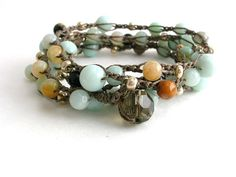 Morning Mist long bohemian wrap bracelet double necklace, amazonite, silver, pale blue, robins egg, crocheted