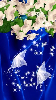 Blue and white flowers and butterfly