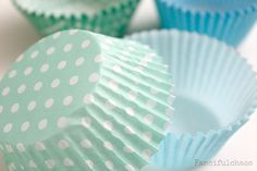 50 Paper Cupcake Liners - Garden Partys, Wedding, Birthday, Baby Shower, Celebrations Light Blue or Mint Green. $4.00, via Etsy.