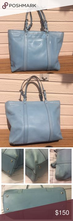 Light blue Coach tote Great Coach light blue zipper closure tote.  This tote is fabulous and is smooth leather with silver hardware and white stitching.  2 slip pockets (cell phone/accessories), 1 inside zippered pocket.  See pictures as this was loved and does show some wear on the corners and some light fading.  🚫trades/PP.  reasonable offers accepted Coach Bags Totes