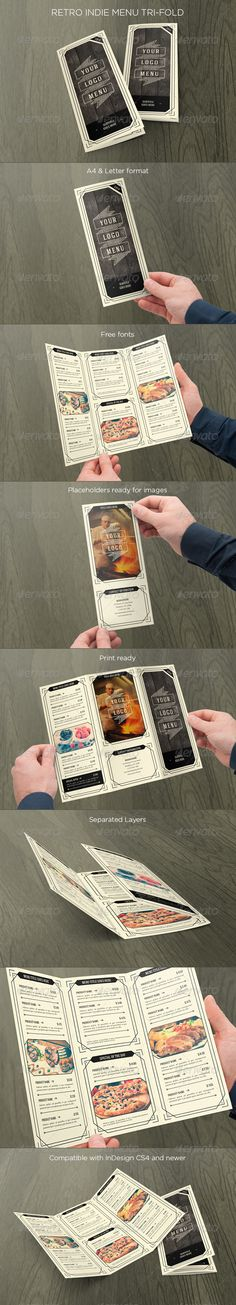 Retro Indie Menu Trifold - Food Menus Print Templates