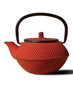 Look at this #zulilyfind! Red Cast Iron Tokyo Teapot #zulilyfinds