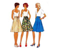 Flared Skirt Pattern Style 1104 Boho by allthepreciousthings Skirt Patterns Sewing, Vintage Sewing Patterns, Skirt Sewing, Sewing Ideas, Wrap Pattern, Flare Skirt, Skirt Fashion, Pattern Fashion, Summer Dresses