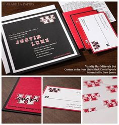 "Fresh Pick - This handsome Bar Mitzvah set comes one of our favorite retailers, Little Black Dress Paperie in Bernardsville, NJ. This set was inspired by our ""Varsity"" invitation but has been customized to be completely unique. The final result is a modern, sporty, and clean invitation set with fun, personalized details. University of Wisconsin fan, perhaps?"