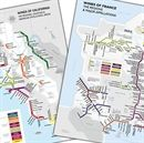 Show details for De Long's California Metro & France Metro Style Wine Map Duo