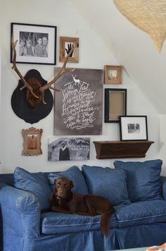 Love this space. ..denim sofa