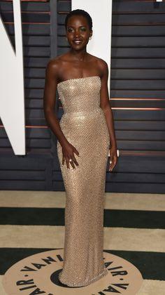 Who: Lupita Nyong'oWore: Calvin Klein Collection�Where: 2015 Vanity Fair Oscar Party via @stylelist