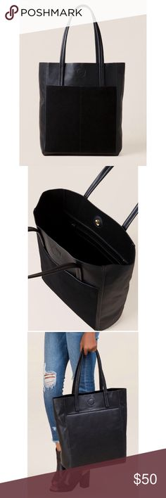 NWT Francesca's Leather Black Tote Brand new with tags! Gorgeous faux leather tote with real Suede front from Francesca's is the perfect bag and will match with everything! More details and measurements in the last picture Francesca's Collections Bags Totes