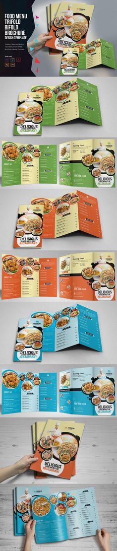 Food Menu Trifold Bifold #Brochure Design Template #restaurant #foodmenu #graphics  download now➩ https://creativemarket.com/Miyaji75/909921-Food-Menu-Trifold-Bifold-Brochure?u=Datasata