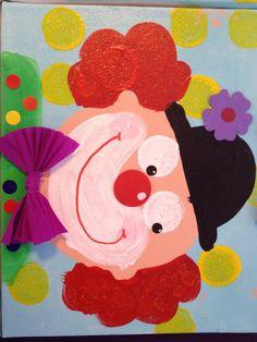 Clown - otiskování koleček. Payaso.