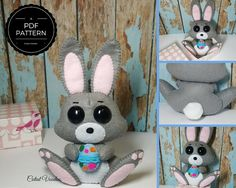 Cute Easter Bunny Felt PDF Pattern by CutestVoodoo on Etsy