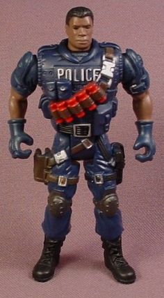 Chap Mei Captain Faulkner African American Police Officer Action Figure, 3 7/8 Inches Tall