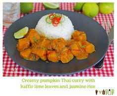 Creamy Thai pumpkin curry with kaffir lime leaves and jasmine rice Thai Pumpkin Curry, Kaffir Lime, Jasmine Rice, Vegetarian Recipes, Healthy Eating, Leaves, Dishes, Food, Eating Healthy