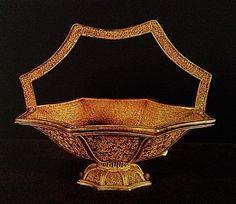 Silver gilt filigree basket. Width 11.4 cm.