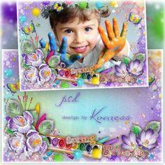 Цветочная рамка для фотографий для фотошопа : Весна в   ярких красках
