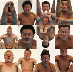 Facial expressions of olympic divers captured mid-dive.