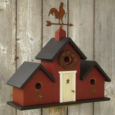 Image detail for -New 2012 - Primitive Birdhouse Weather Vane Rooster Three Gable Farm . Bird House Plans, Bird House Kits, Bird House Feeder, Bird Feeders, Birdhouse Designs, Bird Houses Diy, Bird Boxes, Wood Crafts, Kit Homes