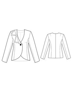 Fashion Designer Sewing Patterns - No-Lapel One-Button Jacket with Ruffle