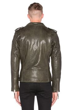 BLK DNM X REVOLVE MAN Exclusive Leather Jacket 5 in Military Green | REVOLVE