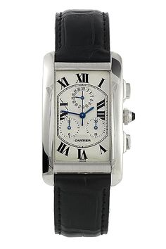 f0c23e8e8ec Certified Pre-Owned Large Cartier Tank Americaine Chronograph Watch -  W2603356. Curved 18k white