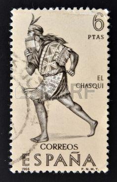 ESPA A CIRCA 1966 Un sello impreso en Espa a muestra el chasqui correo de los incas alrededor del a  Foto de archivo