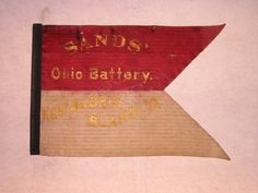 U.S, Army Light Artillery Guidon, Sand's 11th Ohio Battery with Battle Honors.  A Civil War flag from the Michael Madaus sub-collection of Civil War Military flags. It belonged to the Light Artillery Ohio Battery and was used by Ohio troops in the western theater of the American Civil War.