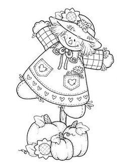 Girl scarecrow - tole painting patterns as redwork. Fall Coloring Pages, Halloween Coloring Pages, Colouring Pics, Adult Coloring Pages, Coloring Pages For Kids, Coloring Sheets, Coloring Books, Kids Coloring, Theme Halloween