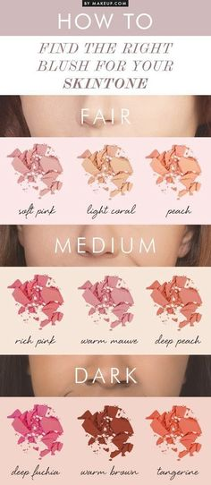 Blush up in a tone that works for you! | 28 Makeup Charts That'll Make Your Life So Much Easier