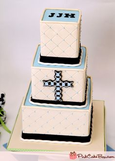 Baptism Cake (I like the blue on top with a white, solid border)