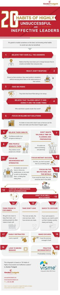 20 Habits of Unsuccessful and Ineffective Leaders (Infographic) | Inc.com