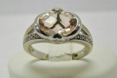 925 Sterling Silver Ring 1 85 Carat Oval Morganite Cubic Zirconia Accent Sz 6 5 | eBay